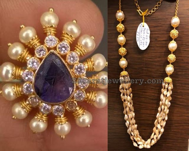 55e2d1d18443f Rice Pearls Necklace with Pendant | Gold, Diamond and Gemstone ...