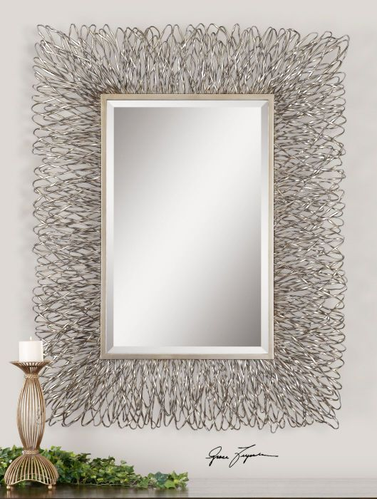 56x44 rectangular wall decorative mirror hand forged wire metal frame silver