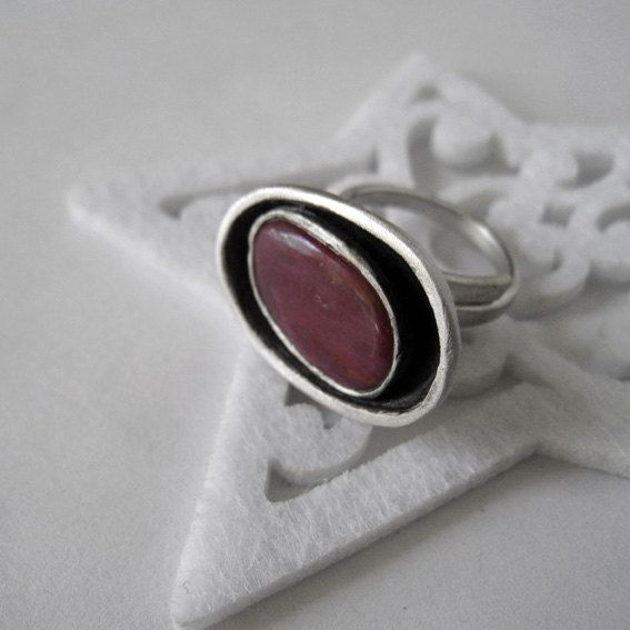 Natural ruby and sterling silver adjustable oval by applenamedD