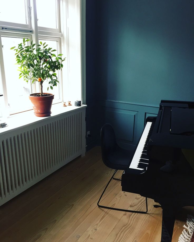 Our living room with the blue panels and grand piano #Home #GrandPiano #bluewalls #bluepanels #panels #bluecolor #bluecolour