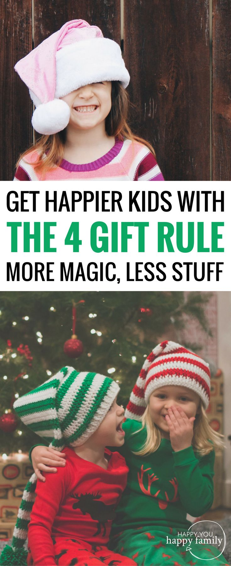 "Interested in the 4-gift rule for Christmas but worried your kids will revolt? This post is SO HELPFUL because it gives you everything you need to adopt the 4-present tradition for your family. And here's the BEST part: Your kids will actually be happier with just 4 gifts for Christmas! All the gotchas to avoid plus a list of the best ""want need wear read"" ideas for gifts. #christmasgifts #giftsforkids #simplechristmas #kidschristmas #christmastradition"
