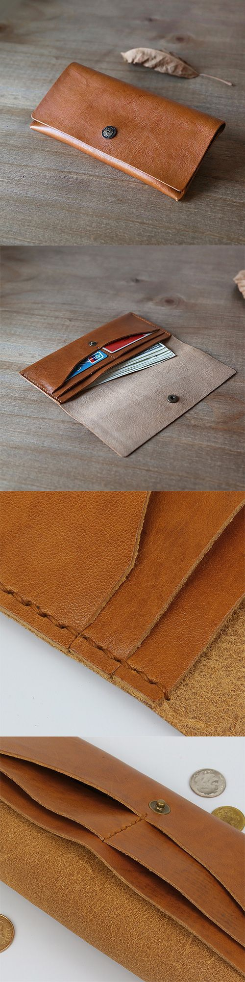 Handmade leather vintage women long wallet clutch …