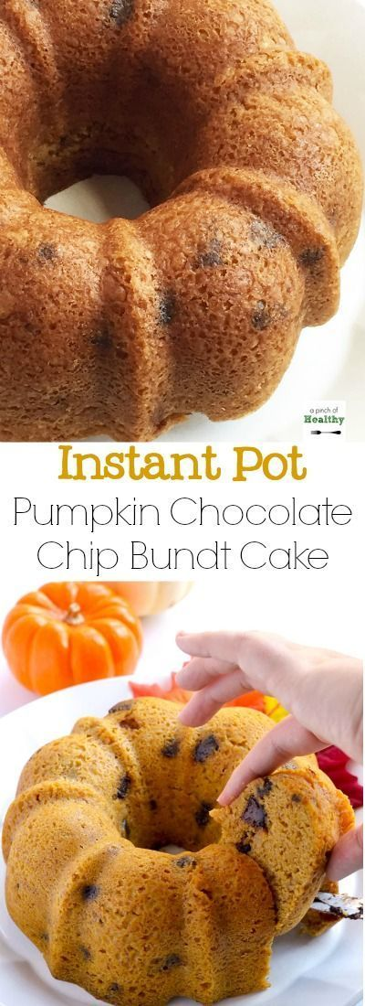 You can make this pumpkin  chocolate chip bundt cake in your Instant Pot, and it is such a delicious treat. | APinchOfHealthy.com
