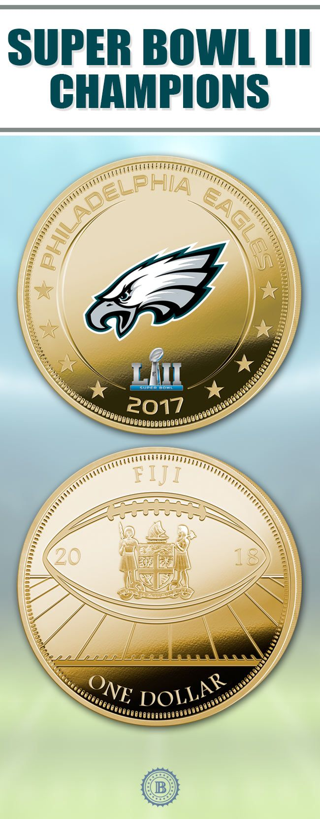 Celebrate the Philadelphia Eagles very first Super Bowl win with this commemorative dollar coin collection. Each proof-condition treasure is richly plated in 24K gold and showcases stunning player artwork.