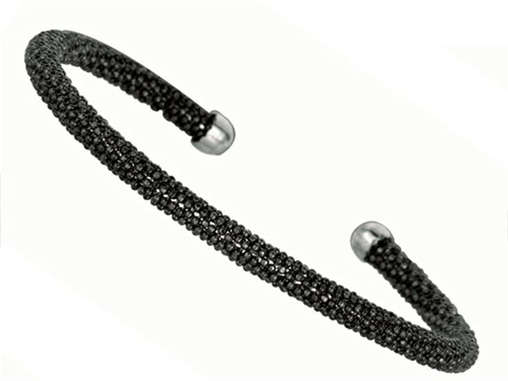 Sterling Silver 4mm Black Rhodium Adjustable Beaded Bangle. Guaranteed Authentic from the Finejewelers Collection designer line. Width: 4.00.