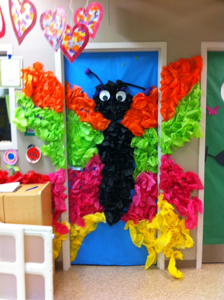 Weird animals vbs door decor.  Tissue paper Butterfly