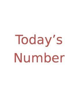 Today's Number Is... by Verna Wicks | Teachers Pay Teachers