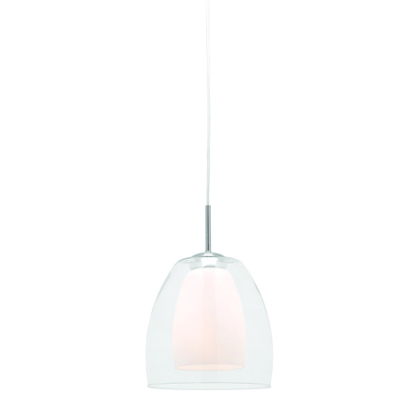1 Light Pendant with Clear Outer Glass and Frost Inner Glass Overall Height 1000mm, Body Height 320mm, Width 200mm Lamp Max 1 x 60w E27 Brand: Mercator Lighting