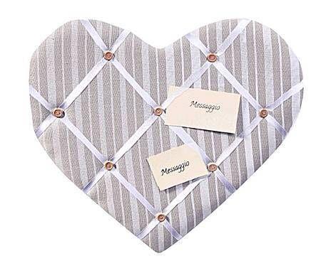 Lavagnetta memo in stoffa a forma di cuore beige - 43X40X3 cm | Dalani Home & Living
