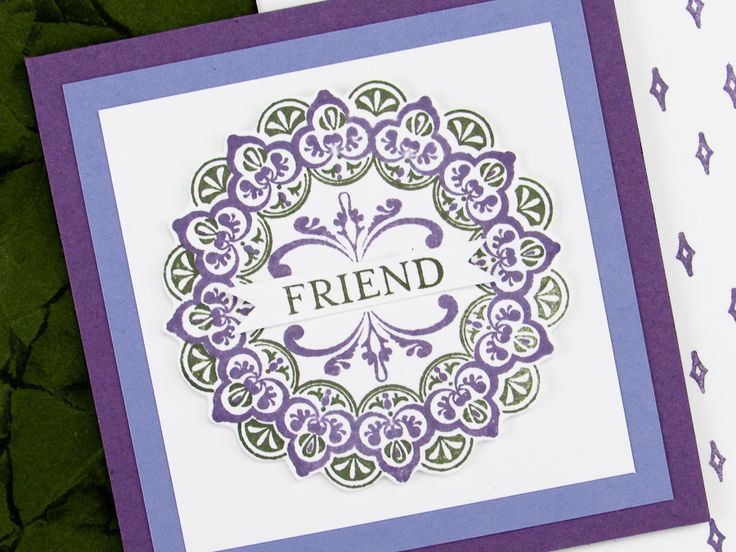 Today's Make a Medallion card was designed for my March team color challenge. The inspirational colors for the challenge were Perfect Plum, Wisteria Wonder and Always Artichoke.