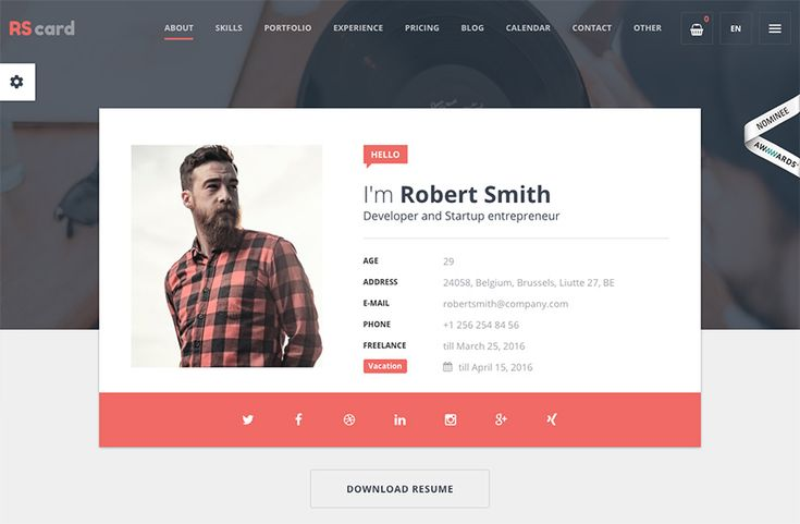 Interactive resume theme example
