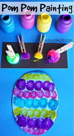 Pom Pom Easter Egg Painting Craft for Kids | CraftyMorning.com