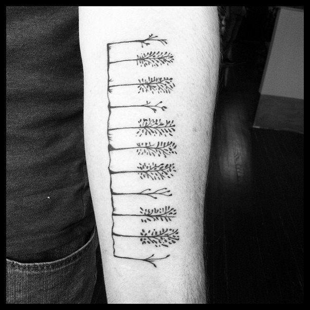 Minimal trees by Bradley Teitelbaum at White Rabbit Tattoo Studio