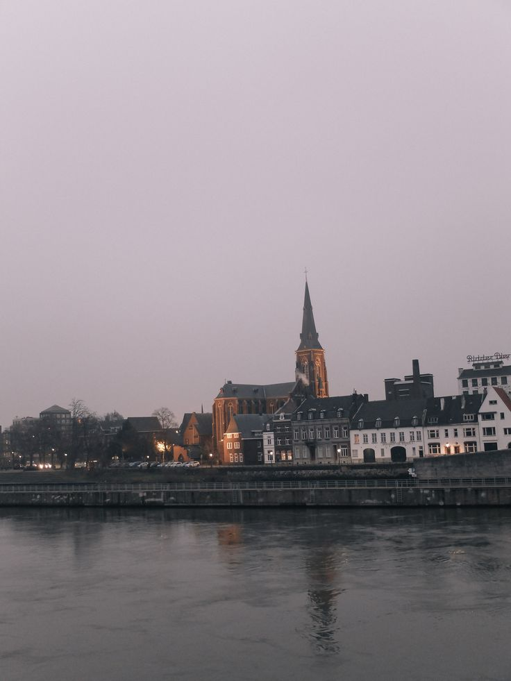 Maastricht lights and white skies, just before snowfall