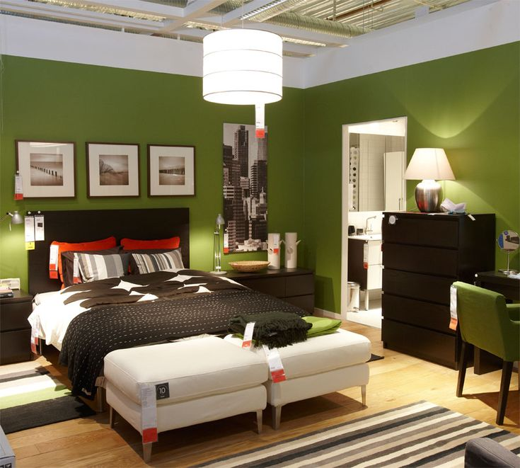 Enchanting Green Bedroom Design Ideas With Cylinder Pendant Lamp And Black Furniture Cabinet