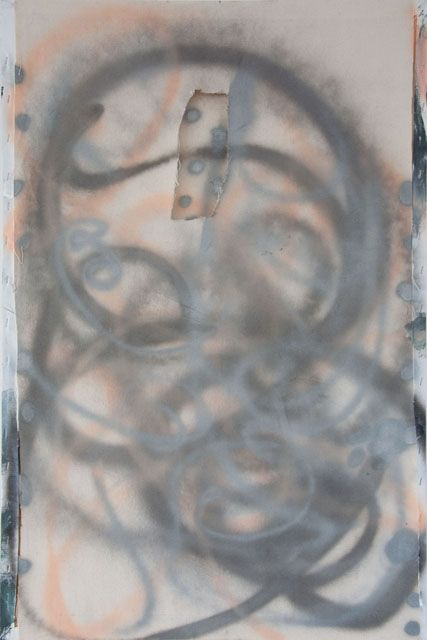Stella Corkery, Untitled 97, spray paint on raw canvas and readymade canvas and stretcher,  610mm x 910mm