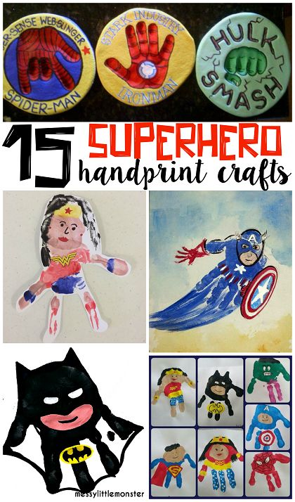 Amazing Superhero Handprint Crafts for Kids (Find batman, superman, hulk, captain america, wonder woman, and more!)