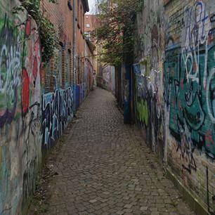 """Hver dag går turen til og fra kontoret i Aarhus gennem kærlighedsstien.   The way to our office in Aarhus goes through """"Kærlighedsstien"""" ( The passage of love)."""