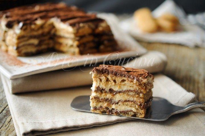 Mattonella moka e nutella, dolce freddo, senza forno, ricetta con pavesini al caffè, facile e veloce, dolce della domenica, dopo pranzo, torta golosa al caffè