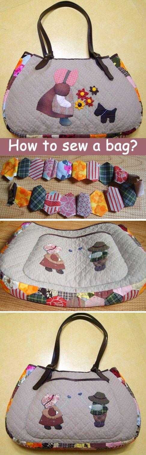 Japanese patchwork tutorial  zipper quilted appliqué handbag. DIY tutorial in pictures.  http://www.handmadiya.com/2015/09/quilt-bag-japanese-patchwork-tutorial.html