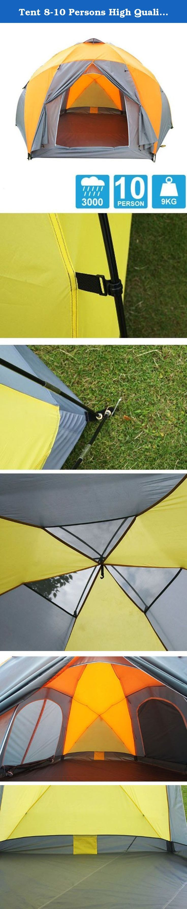 Tent 8-10 Persons High Quality Windproof Waterproof Outdoors 3000mm Hex Tent Durable Family Camping Gear Party Tent. 1. External tent material: 210T PU3000mm polyester 2. Backing material:210T PU3000mm polyester 3. Inner tent material: 190T breathable water repellent 4. Tent size: 330 x 380 x 195cm 5. pole: 8.5mm Fiberglass 6. Weight: 9kg 7. Packing size: 100cm x 14cm x 14cm 8. Fabric:polyester .
