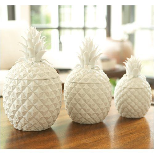4.80100 1 2 Set of 3 White Pineapple Jars: Kitchen these would match my butter dish I got in Newport, RI