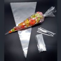 """50 CLEAR Plain Cone Cellophane Sweet / Party Bags With 4"""" Silver Twist Ties  
