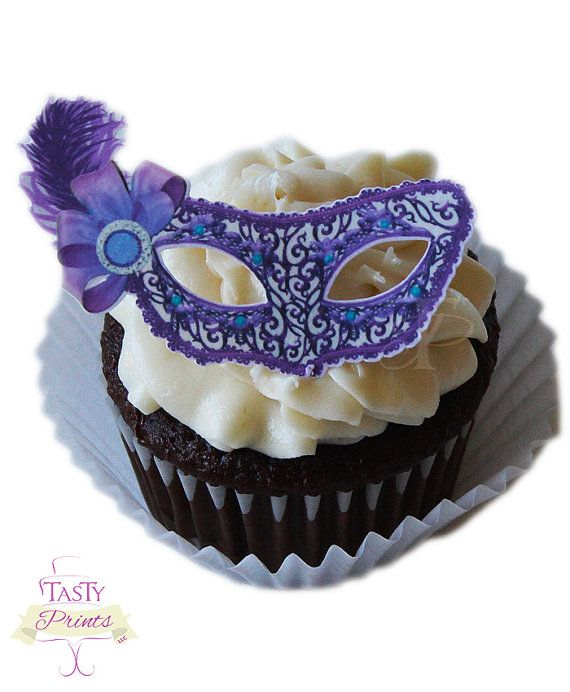 12 Edible Decorations  Masquerade Food Decorations  by TastyPrints, $10.99. These all taste like vanilla so they go with all most any cake flavor.
