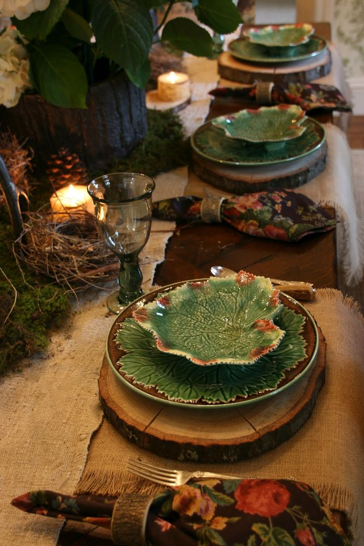 vignette design: A Woodland Style Tablescape. Pretty nature displays & candle centerpieces with woodsy table setting