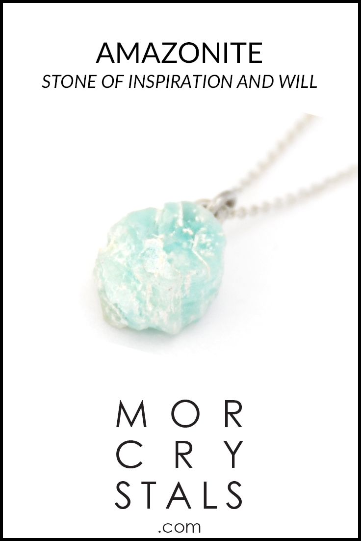 Amazonite - Stone of Inspiration and will - Enhances communication.  Raw and natural Amazonite stone made in to a pendant with a 45 cm 925 silver chain. Made with recycled silver.  From the MOR collection Piece of Earth. Find on morcrystals.com