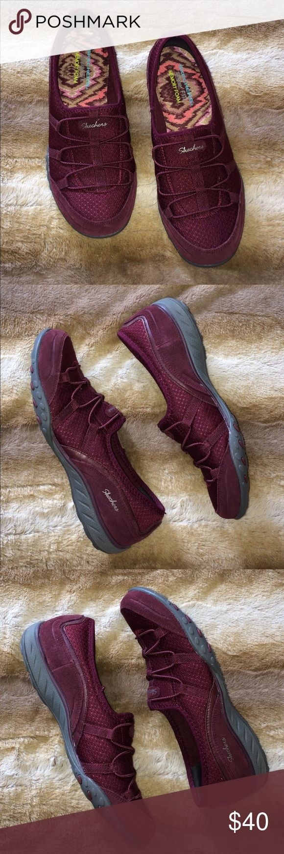 Sketchers Sneakers Relaxed fit. Memory Foam. Leather/textile upper. Color is Burgundy.  Wore once. Like new condition. Skechers Shoes Sneakers