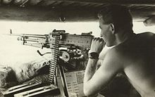 An Australian soldier manning a MAG 58 during the period of Indonesia–Malaysia confrontation.