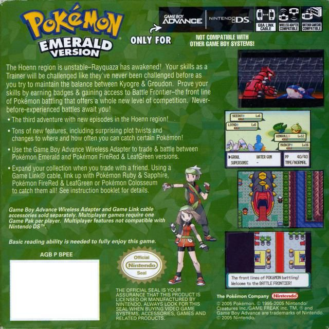 Pokemon Emerald Version Box Shot for Game Boy Advance  GameFAQs
