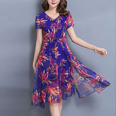 Women's Plus Size Going out Sophisticated A Line Chiffon Dress,Print V Neck Knee-length Short Sleeve Polyester Summer Mid Rise – GBP £ 13.78