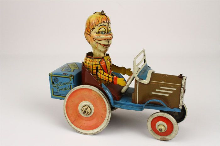 1939 Marx Mortimer Snerd Crazy Car Tin Toy Windup