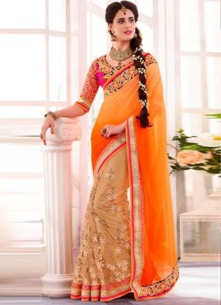 Dazzling Orange And Cream Half N Half Embroidery Work Designer Sarees