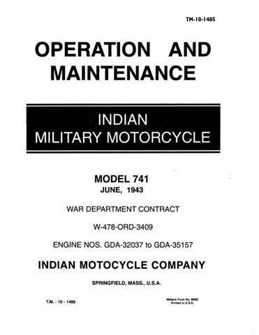 1943 Indian 741 Military Motorcycle Shop Service Manual