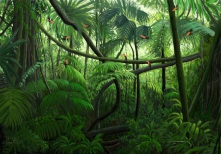 Jungle Painting Green Jungle Trees Backgrund