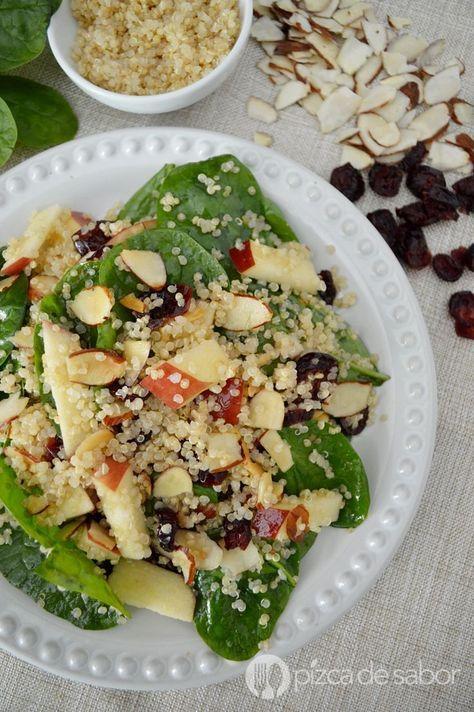Ensalada de quínoa / quinua con espinaca y manzana www.pizcadesabor.com