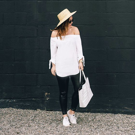 Get this look: http://lb.nu/look/8740955  More looks by Alexandra G.: http://lb.nu/tovogueorbust  Items in this look:  Aritzia Off The Shoulder Top, Aritzia Leather Leggings, Converse White Low Tops, Urban Outfitters Straw Boat Hat   #casual #chic #classic