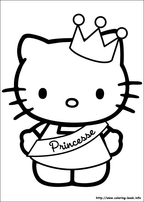 Hello Kitty with a crown coloring page