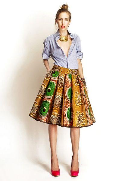 Denim Shirt + African print skirt