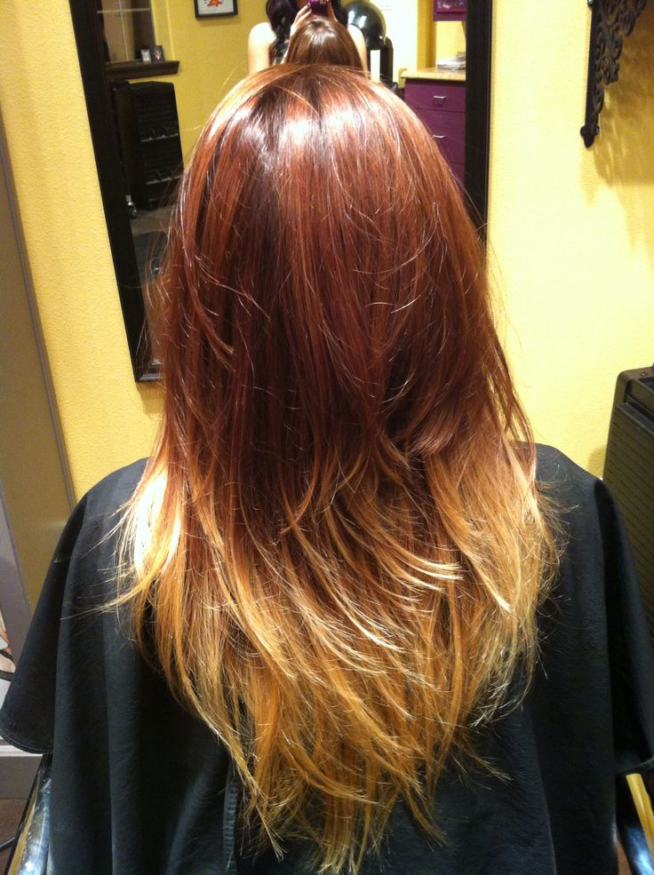 Red brown and blonde ombr hair by stephmtzxoxo pinterest colors ombre and brown - Ombre braun blond ...