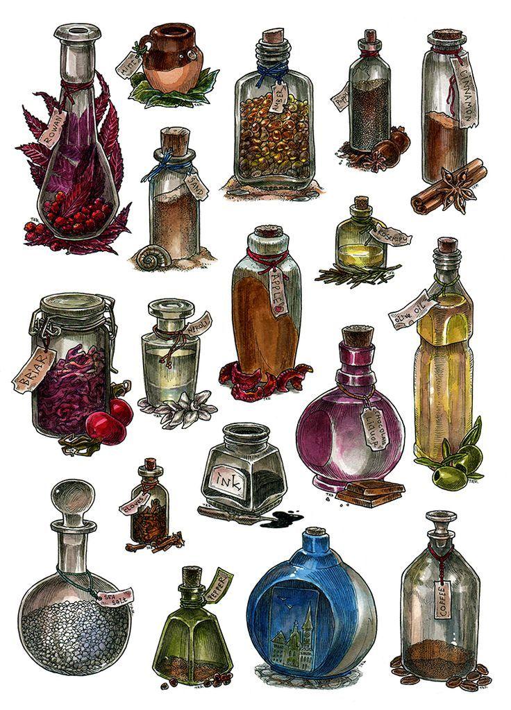 Bottles - watercolor by JuliaTar on DeviantArt