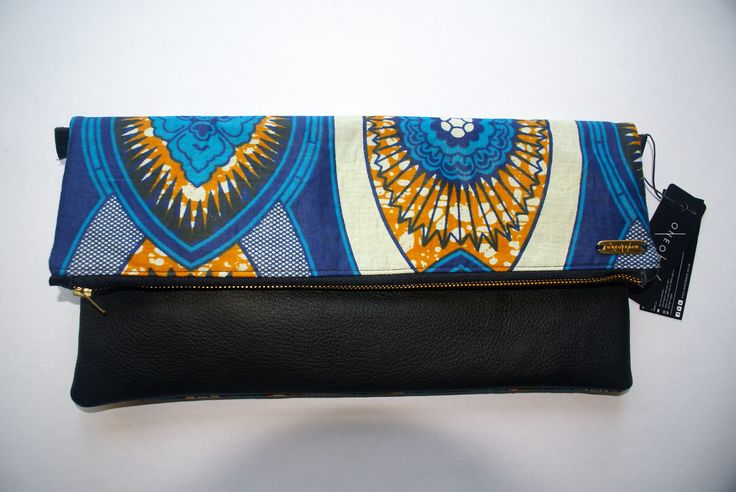 OneofEach African Waxed Material and Leather clutch bag