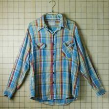 古着ブルー×イエロー×レッド×ホワイト×グレー(青×黄×赤×白×灰)メンズ長袖ネルチェックビンテージシャツ【ELY(エリィ)】