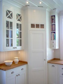 Corner Pantry In White, Scandinavian Kitchen. I Love The Narrow Shelves For  Books To