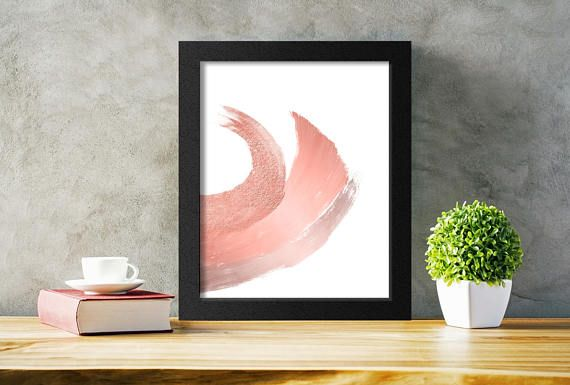 Printable Rose Gold Wall Art.  Add a touch of glamour to any decor with this rose gold brushstrokes print.  Available for download in several sizes to suit  any space!  #rosegoldart #abstract #wallart