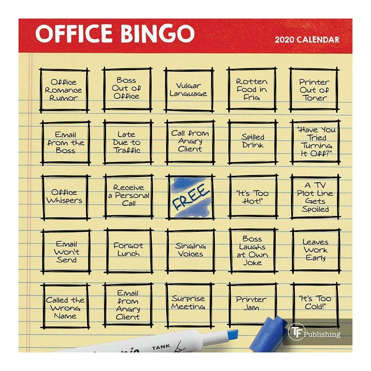 2020 Mini Wall Calendar Office Bingo in 2020 Office