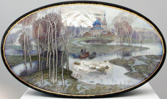 Kozlov Sergey, Fedoskino lacquer box, Spring: